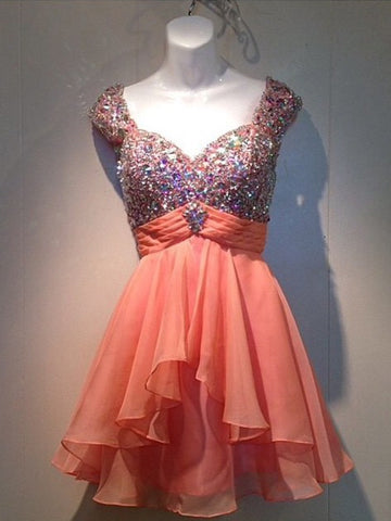 Charming A-line Short Prom Dress Chiffon Juniors Homecoming Dress kmy380