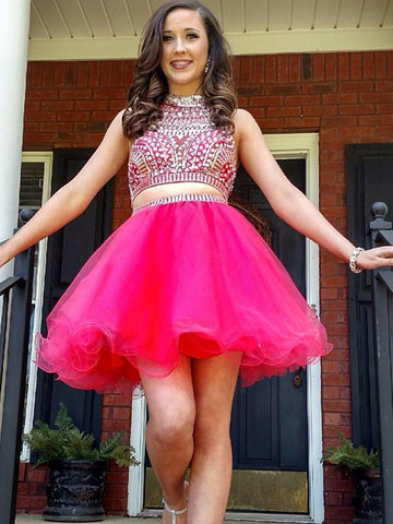 Charming A-line Short Prom Dress Tulle Juniors Homecoming Dress kmy381