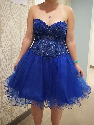 Charming A-line Short Prom Dress Tulle Juniors Homecoming Dress kmy383