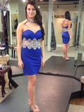 Charming Sheath/Column Short Prom Dress Chiffon Juniors Homecoming Dress kmy386