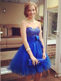 Charming A-line Short Prom Dress Tulle Juniors Homecoming Dress kmy399