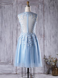 2017 A-line Scoop Short Tulle Prom Drsess Homecoming Dress kmy409