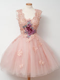 2017 A-line Scoop Short Tulle Prom Drsess Homecoming Dress kmy413