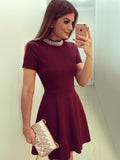 Burgundy Homecoming Dress Short Prom Drsess Homecoming Dresses kmy444