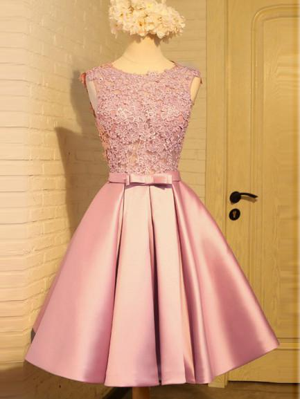 A-line Homecoming Dress Short Pink Homecoming Dresses kmy458