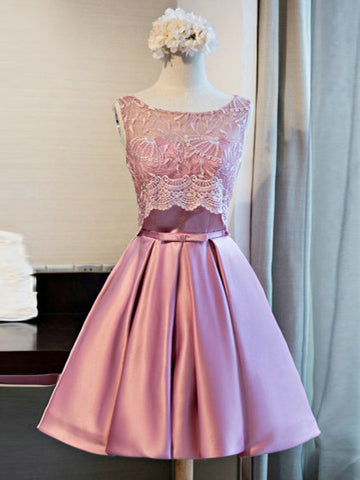 2017 A-line Short Homecoming Dress Pink Cooktail Dress kmy460