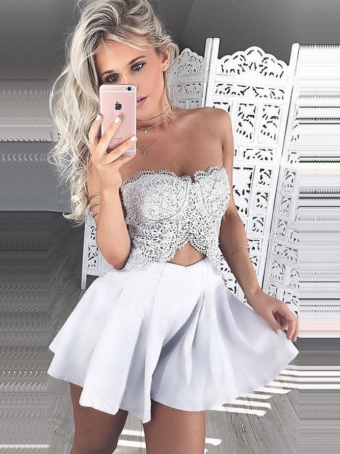 2017 Sweetheart Short Homecoming Dress White Cooktail Dress kmy463