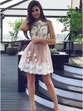 A-line Scoop Short Homecoming Dress Appliques Cooktail Dress kmy464