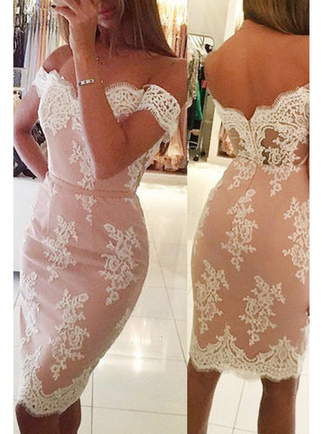 Sheath/Column Short Homecoming Dress Lace Cooktail Dress kmy466