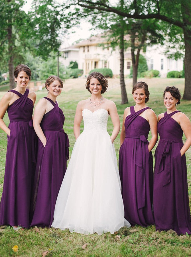 Elegant A-line Bridesmaid Dresses Chiffon Long Bridesmaid Dresses kmy500