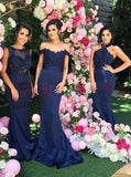 Trumpet/Mermaid Bridesmaid Dresses Satin Long Bridesmaid Dresses kmy509