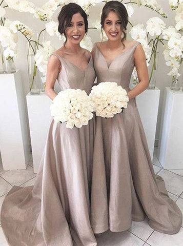 Elegant A-line Bridesmaid Dresses Satin Long Bridesmaid Dresses kmy511