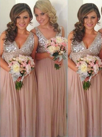 Elegant A-line Bridesmaid Dresses Chiffon Long Bridesmaid Dresses kmy514