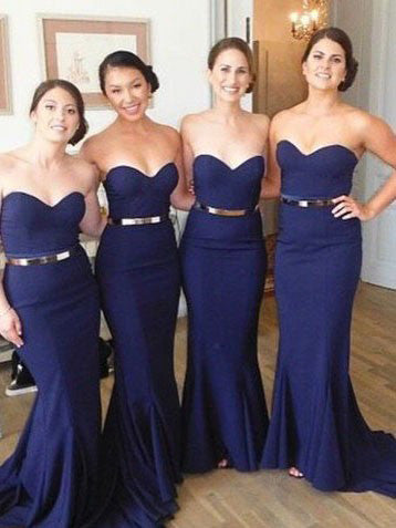 Trumpet/Mermaid Bridesmaid Dresses Sweetheart Long Bridesmaid Dresses kmy518