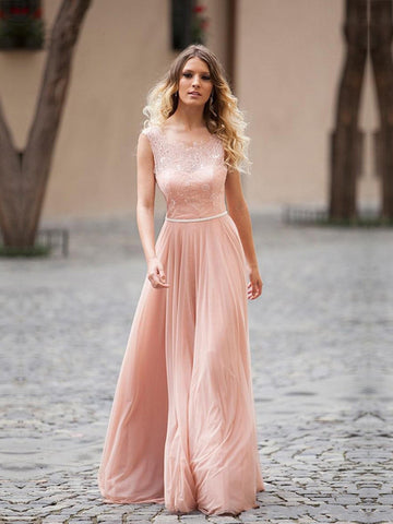 A-line Bridesmaid Dresses Chiffon Scoop Long Bridesmaid Dresses kmy522