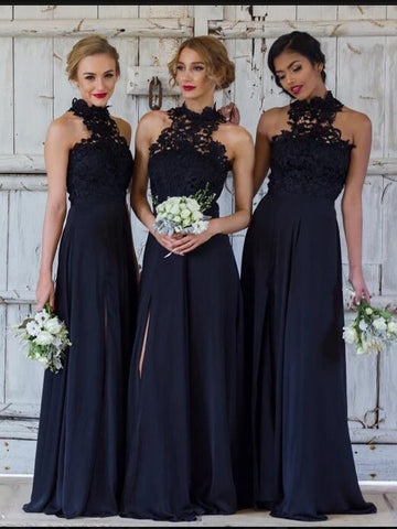 A-line Bridesmaid Dresses Dark Navy Long Bridesmaid Dresses kmy523