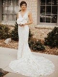 Mermaid 3D Lace V neck Rustic Sweep/Brush Train Wedding Dress Bridal Gowns WEK035