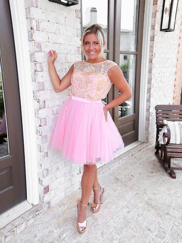 Pink A-line Cap Sleeve Cute Homecoming Dress Short Prom Dresses With Sequins WHK057