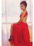 sexy prom dresses,Red A-line Scoop Sweep Brush Train Chiffon Evening Dress Prom Dresses SP8287
