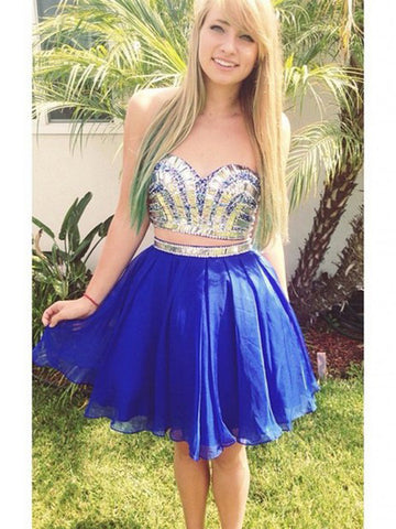 prom dresses short,Royal Blue A-line Sweetheart Short Mini Chiffon Homecoming Dress Short Prom Dresses SP8130