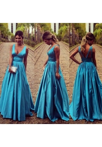 A-line V-neck Floor-length Elastic Woven Satin Prom Dresses/Evening Dresses #SP7355