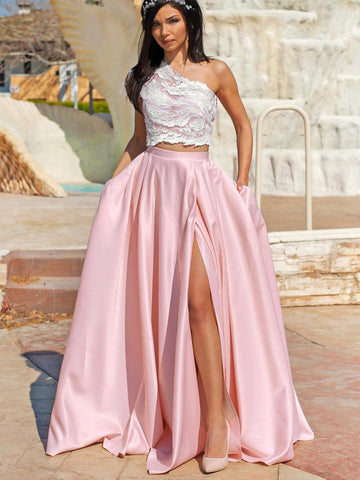 Two Pieces One Shoulder Pink Long Prom Dresses High Split Gorgeous Prom Dresses WHK014