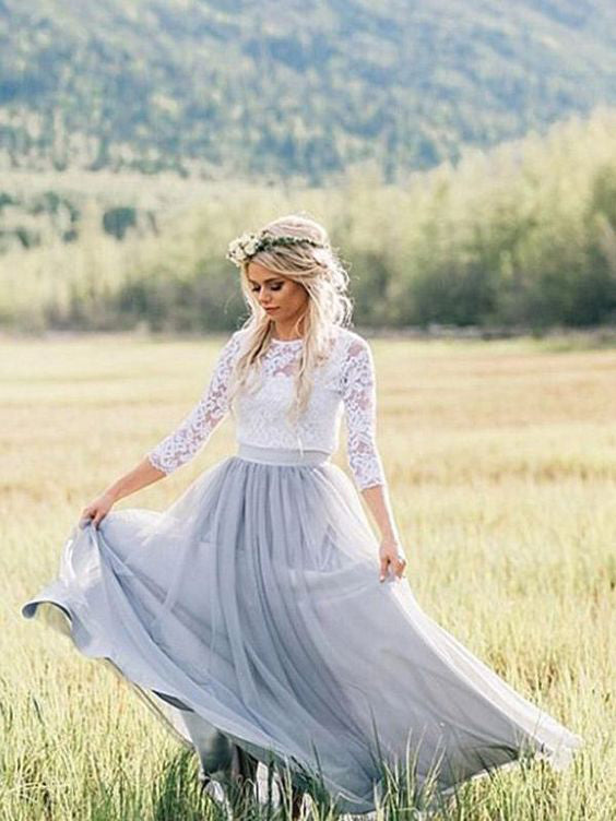 Two Pieces Scoop Boho Wedding Dress With 3/4 Sleeve Rustic Lace Wedding Dresses WEK017