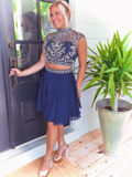 Unique Two Pieces Short Prom Dresses Dark Navy Beaded Homecoming Dress WHK053