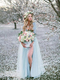 Two Pieces Deep V neck Boho Wedding Dress With Long Sleeve Rustic Wedding Dresses WEK019