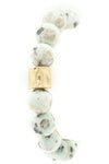 Semi Precious Stone Hammered Metal Stretch Bracelet