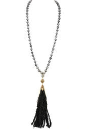 Faux Suede Metal Chain Necklace