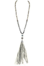 Semi-Precious Stone Fabric Tassel Necklace
