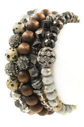 Beaded Wood stretch bracelets