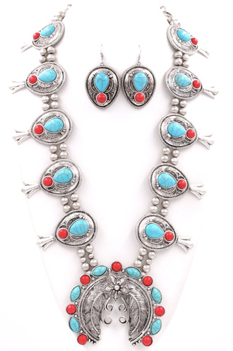 Semi Precious Concho Necklace Set