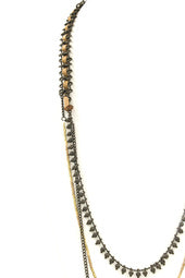 Faceted Bead Metal Tassel Necklace