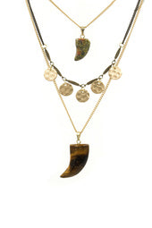 Natural Stone Tooth Layering Necklace