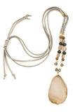 Natural Stone Pendant Pull-Tie Necklace