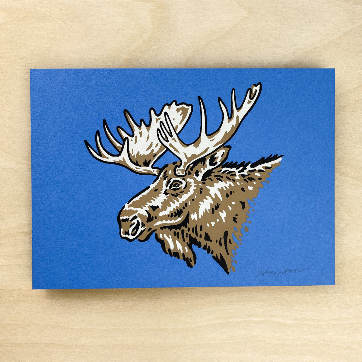 Alaska Moose - Signed 7x5in Print #227