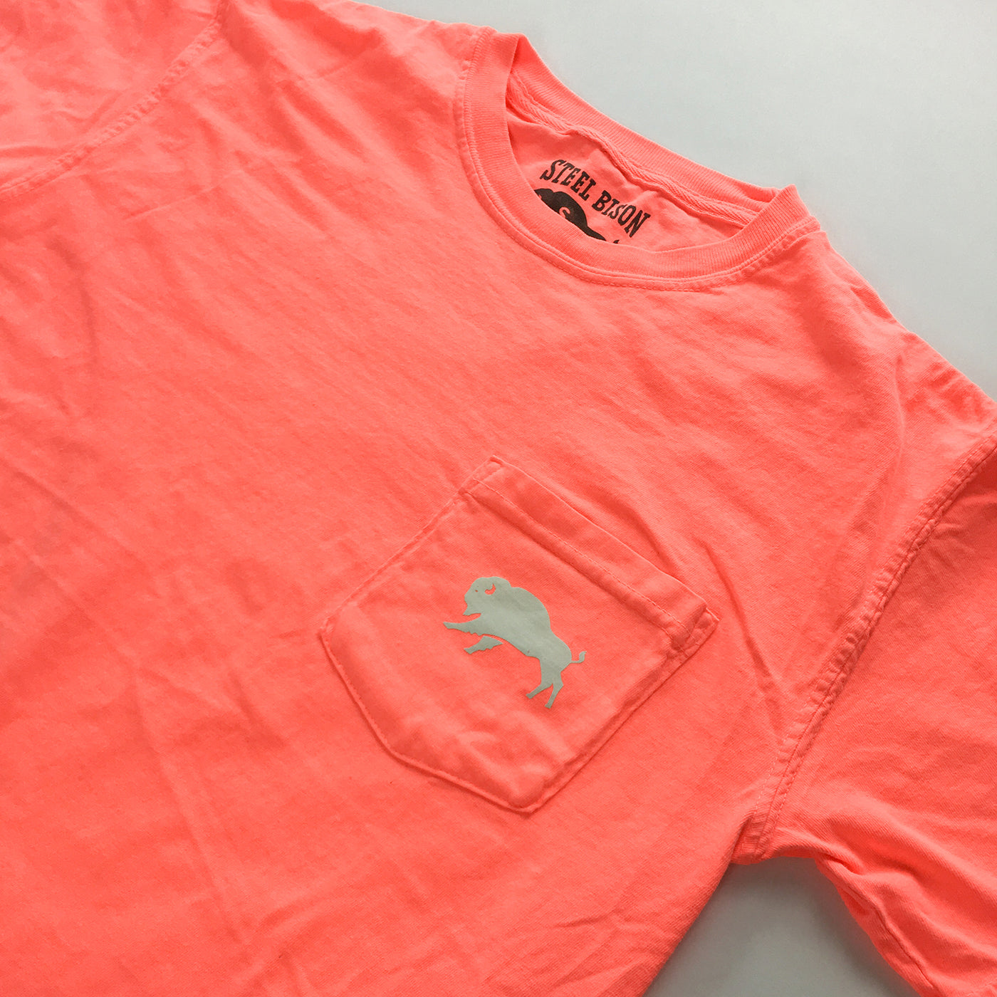 LIMITED EDTION: Bison Logo - Heavy Cotton Pocket T-shirt (Neon Coral)