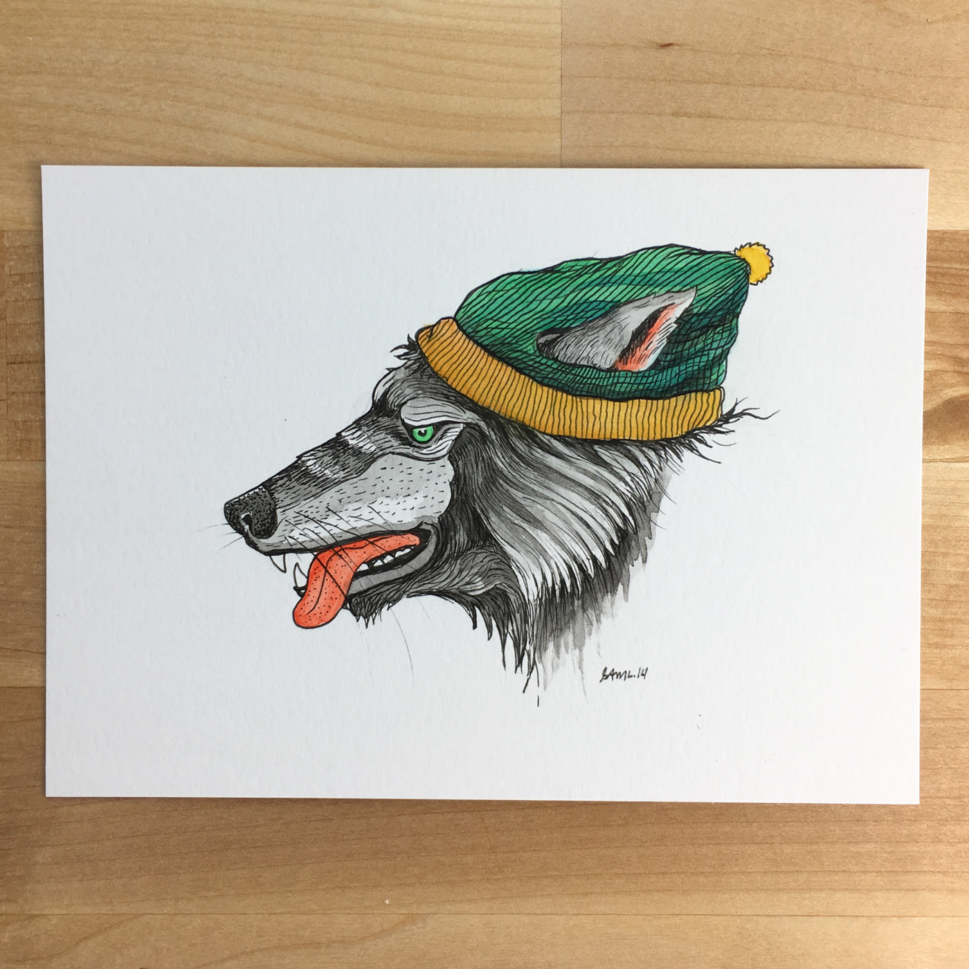 Big Bad Wolf - Original Illustration 7x5in