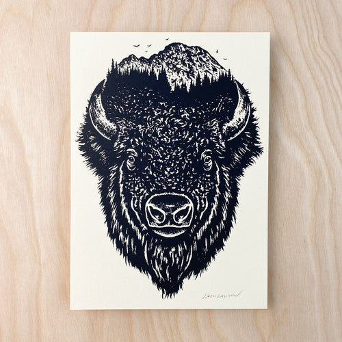 Bison Wilderness - Signed 5x7in Print #230