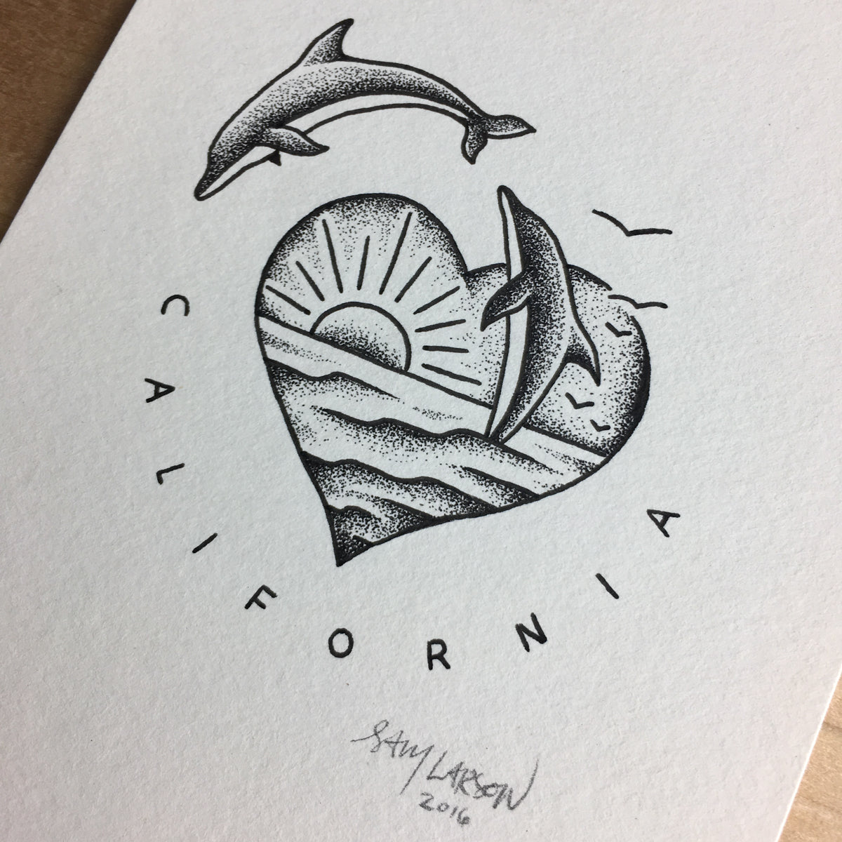 Dolphins - Original Illustration 4x6in