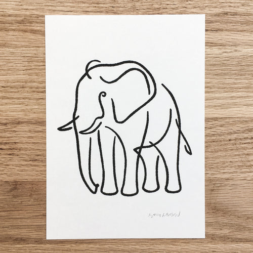 Abstract Elephant - Signed Print #113