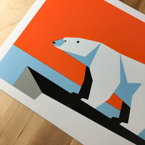 Geo Polar Bear - Signed Silkscreen Print