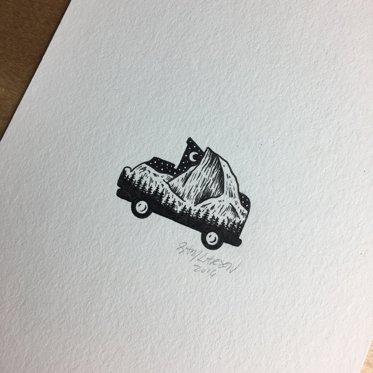 Half Dome Bus - Original Illustration 5x7in