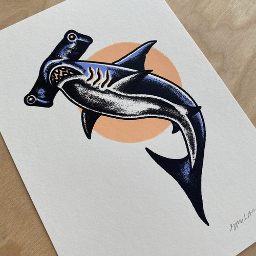 Hammerhead Shark - Signed 5x7in Print #245