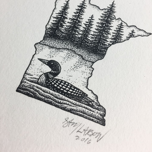 Minnesota Loon - Original Illustration 5x7in