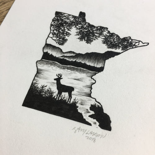 Minnesota Deer - Original Illustration 5x7in