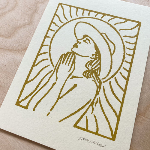 Mojave Woman (Gold) - Signed 5x7in Print #185