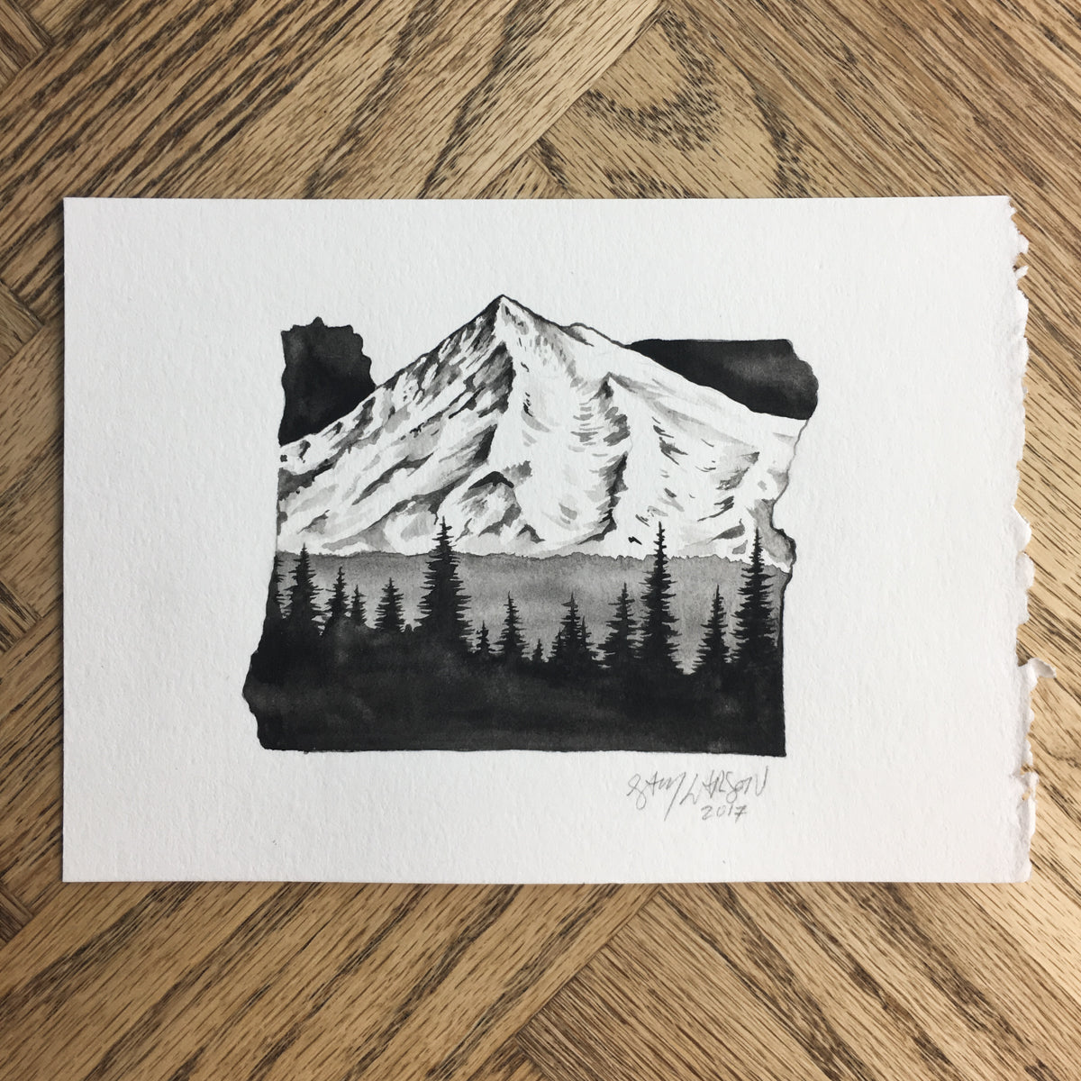 Mt Hood Watercolor - Original Illustration 7x5in